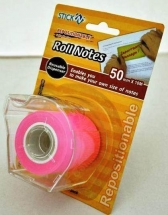 Stick notes in rola cu dispencer 50 mm x 10 m HOPAX - magenta