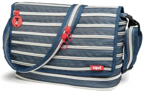 Geanta Messenger ZIP..IT - jeans/argintiu