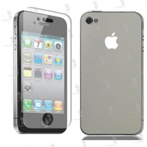 Apple iPhone 4S folie de protectie carcasa 3M carbon white (incl. folie display)