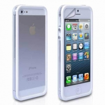 Bumper Apple iPhone 5 alb / transparent (TPU)