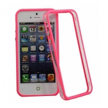 Bumper Apple iPhone 5 roz / transparent (TPU)