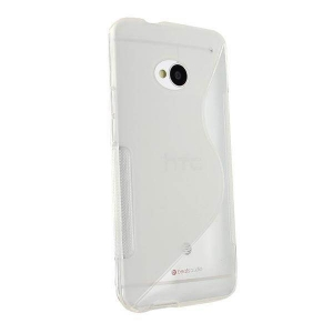 Husa HTC One M7 silicon S-Line alb / transparent (TPU)