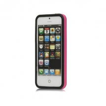 Bumper Apple iPhone 5 roz / negru (TPU)
